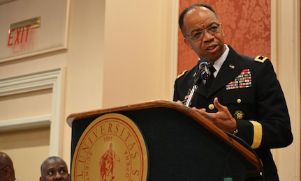 "Maj. Gen. A.C. Roper addresses the Booker T. Washington Centennial Awards Leadership Banquet at Tuskegee University, Tuskegee, Ala., Sept. 24, 2015. The topic of Roper's speech was ""Applying the Principles of Public Service to Leadership in Business and Community."" The Banquet marked the culmination of the Booker T. Washington Economic Development Summit."