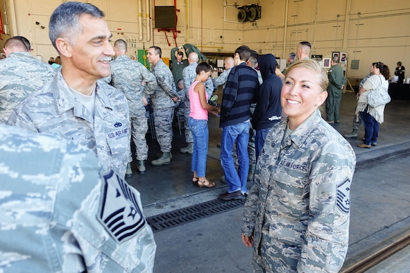 U.S. Air Force Master Sgt. Jan Medina, a first sergeant assigned to the 139th Maintenance Group, Missouri Air National Guard, talks with fellow first sergeants at Rosecrans Air National Guard Base, St. Joseph, Mo., Oct. 4, 2015. Medina has been selected to be an instructor at the First Sergeant Academy at Maxwell Air Force Base, Alb. (U.S. Air National Guard photo by Tech. Sgt. Michael Crane/Released)