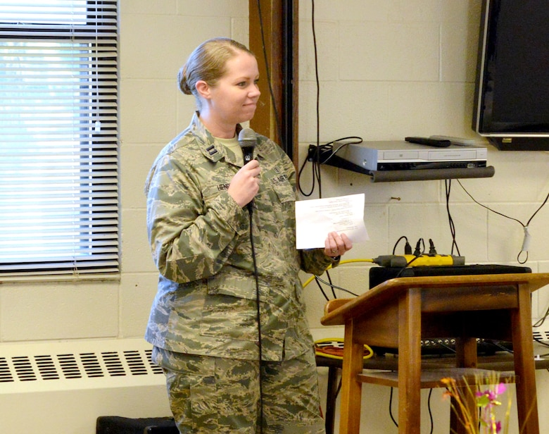 Capt. Joye Henrie, installation suicide prevention program manager, provides suicide prevention training to base leaders at a breakfast Oct. 6. While face-to-face and online trainings and continuous outreach has been impactful in keeping Kirtland suicide free since April 2014, Henri hopes to continue to get people even more engaged in their coworkers' lives.  (Photo by Jamie Burnett)