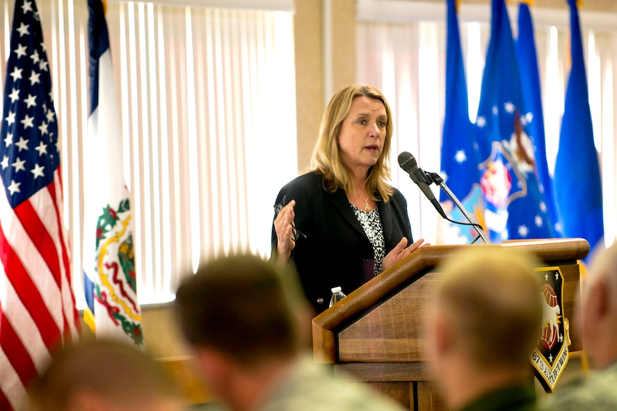 MARTINSBURG, W.Va.-- Secretary of the Air Force Deborah Lee James addresses members of the 167th Airlift Wing, Martinsburg, W.Va., Oct. 5. James visited the 167th Airlift Wing to learn about their recent mission conversion to the C-17 GlobemasterIII and the West Virginia Air National Guard.  Launching the first C-17 mission less than three months after the first aircraft arrival, unit members discussed new opportunities and capabilities for the total Air Force. James also met with wing Airmen to talk answer address questions about the future of the Air Force and Air National Guard. (U.S. Air National Guard photo by Master Sgt. Emily Beightol-Deyerle/ Released)