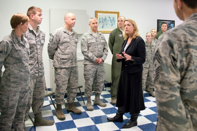 MARTINSBURG, W.Va.-- Secretary of the Air Force Deborah Lee James met with Airmen from the 167th Airlift Wing, Martinsburg, W.Va, to address questions about the future of the Air Force and Air National Guard. James also learned about their recent mission conversion to the C-17 GlobemasterIII and the West Virginia Air National Guard.  Launching the first C-17 mission less than three months after the first aircraft arrival, unit members discussed new opportunities and capabilities for the Total Force. (U.S. Air National Guard photo by Staff Sgt. Jodie Witmer/released)