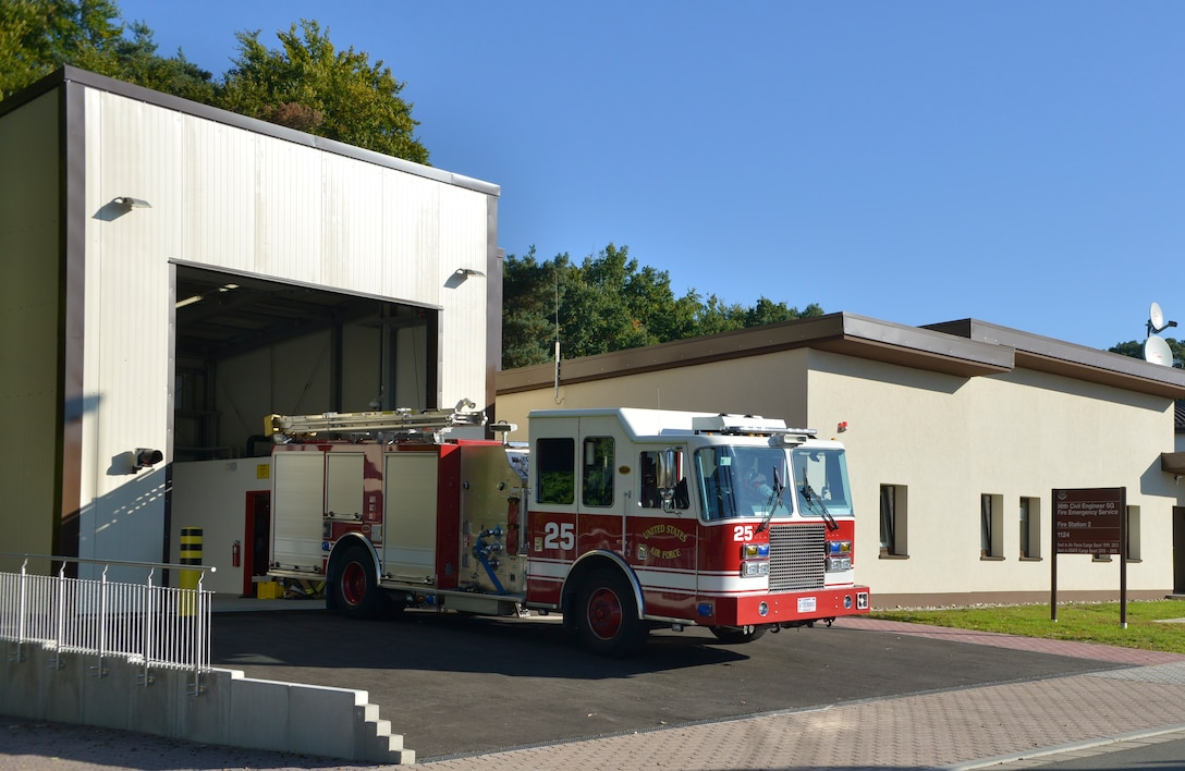 A fire truck is parked outside Fire Station 2's newly-renovated stall Sept. 22, 2015 at Ramstein Air Base, Germany. Station 2 provides the quickest response times to locations such as base housing, the Kaiserslautern Military Community Center and high risk work facilities on Ramstein. (U.S. Air Force photo/Airman 1st Class Lane T. Plummer)