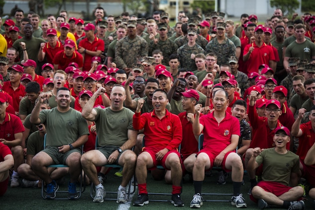 U.S. Marine Lt. Col. Brian P. Coyne, center left, celebrates the successful completion of sports day with Republic of Korea Lt. Col. Yoo Hogeun, right center, during Korean Marine Exchange Program 15-12 at Chung Ryong, Republic of Korea, Sept. 12, 2015. The Marines participated in a number of events, including a weighted pack run, soccer, basketball and tug of war. KMEP 15-12 is a continuous bilateral training exercise that enhances the ROK and U.S. alliance, promotes stability on the Korean Peninsula and strengthens ROK and U.S. military capabilities and interoperability. Coyne, from Long Island, New York, is the commanding officer of 2nd Battalion, 3rd Marine Division, currently attached to 4th Marine Regiment, III Marine Expeditionary Force through the Unit Deployment Program. Hogeun, from Kangwondo, ROK, is the commanding officer of 11th Battalion, 1st Regiment, 2nd Marine Division.