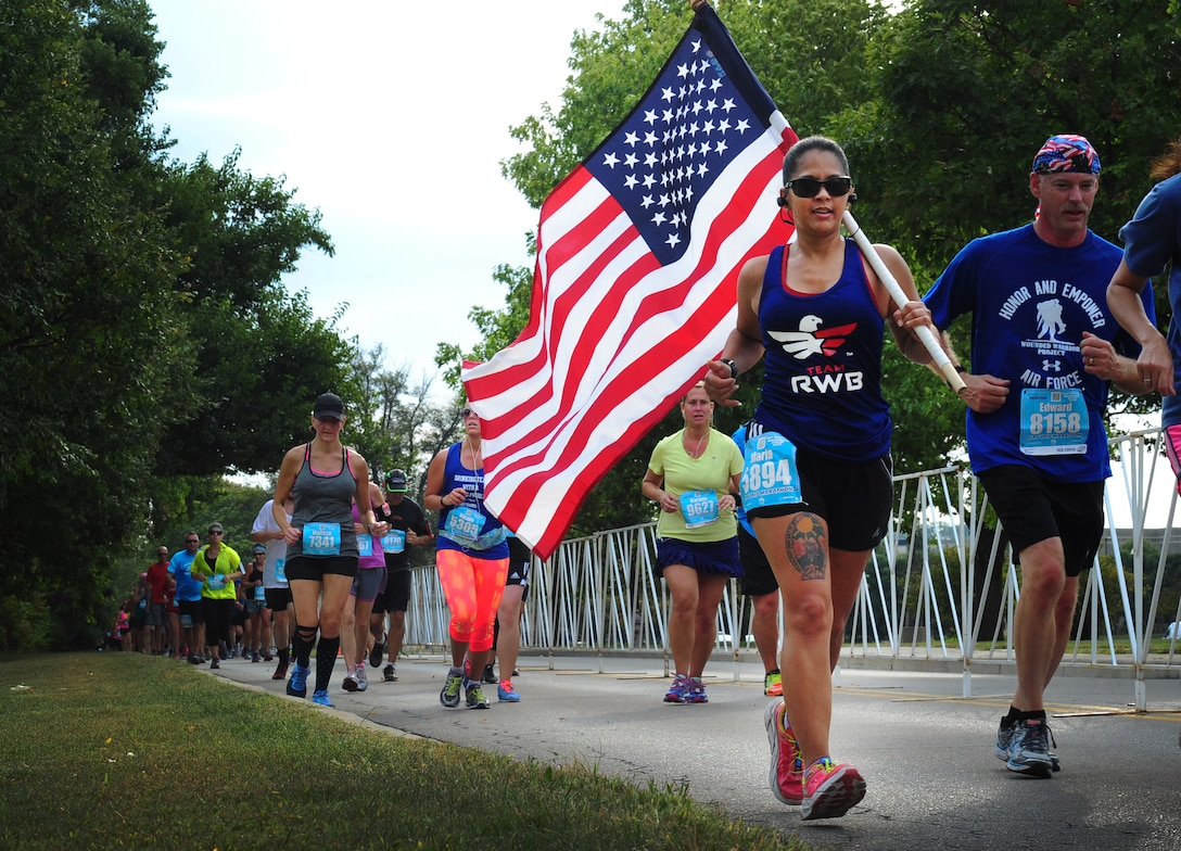 Marathon participants run the 19th Annual U.S. Air Force Marathon, Sept. 19, 2015, near Wright-Patterson Air Force Base, Ohio. Thousands of runners and cclists from across the country attended the three-day event that began Sept. 17 and included a Sport and Fitness Expo, Gourmet Pasta Dinner and a full, and half marathon, 10K, and 5K race. (U.S. Air Force photo by Senior Airman Matthew Lotz)