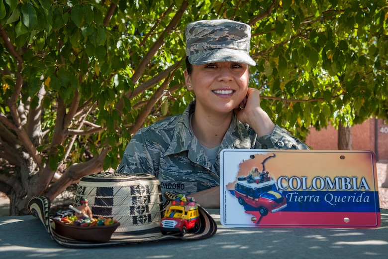 Senior Airman Andrea Londoño, who is assigned to the 4th Manpower Requirement Squadron command support staff, was born and raised in the Central Valley of California. Her mother is from Mexico and her father is from Colombia. Londoño is proud to continue her family heritage and military legacy in the Air Force. (U.S. Air Force photo/Airman 1st Class Rose Gudex)
