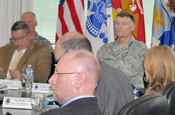 DLA Director Air Force Lt. Gen. Andy Busch, and other agency and DLA Energy senior leaders listen to a briefing May 29 during DLA Energy's Annual Operating Plan Review at the McNamara Headquarters Complex.