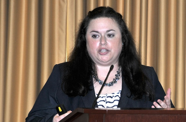 Melissa Brand, an appellate review attorney for the Equal Employment Opportunity Commission, describes types of discrimination during a Lesbian, Gay, Bisexual, Transgender Pride Month observance at the HQC June 17.