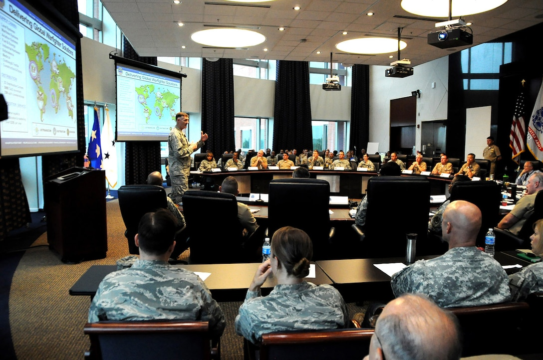 Navy Capt. Richard Barlament, DLA Joint Reserve Force chief of staff, speaks during a manpower working group during the Combined Drill Weekend June 28 at the McNamara Headquarters Complex. JRF members from throughout DLA attended the two-day event, which focused on readiness, training and operational support to DLA.