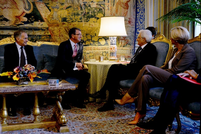 U.S. Defense Secretary Ash Carter meets with Italian President Sergio Mattarella and Italian Defense Minister Roberta Pinotti at the Quirinal Palace in Rome, Oct. 7, 2015. Carter is on a five-day trip to Europe to attend the NATO Defense Ministerial Conference in Brussels, and meet with counterparts in Spain, Italy and the United Kingdom. DoD photo by U.S. Army Sgt. 1st Class Clydell Kinchen