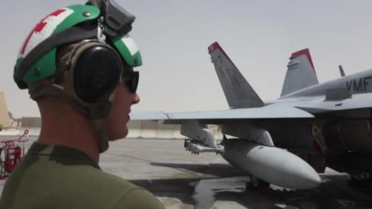 U.S. Marines with Marine Fighter Attack Squadron 232, Special Purpose Marine Air-Ground Task Force—Crisis Response—Central Command, conduct post-inspection maintenance checks on a F/A-18 in Southwest Asia, June 2015. The pilots of VMFA-232 fly a combination of kinetic strike missions, close air support and reconnaissance sorties supporting U.S. Central Command and its area of operations.