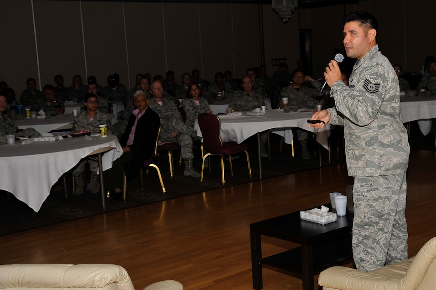 PETERSON AIR FORCE BASE, Colo. – Tech. Sgt. William Gazzaway, 21st Communications Squadron, talks during the Storytellers event Oct. 2, 2015 about his son, Kadin, who passed away from leukemia at a young age. Gazzaway and four other members of Team Pete shared their story of resilience with the audience during the third iteration of the event. (U.S. Air Force photo by Robb Lingley)