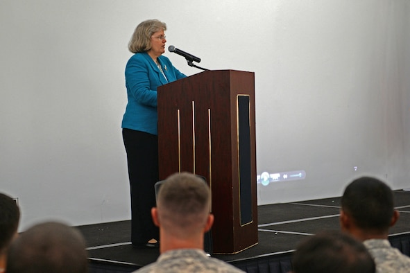 Holly Petraeus, Consumer Financial Protection Bureau assistant director, briefs military members about the importance of making sound financial decisions Oct. 6, 2015, at Andersen Air Force Base, Guam. Petraeus visited military installations on Guam to inform service members and their families about the mission of the Consumer Financial Protection Bureau. (U.S. Air Force photo by Airman 1st Class Alexa Ann Henderson/Released)