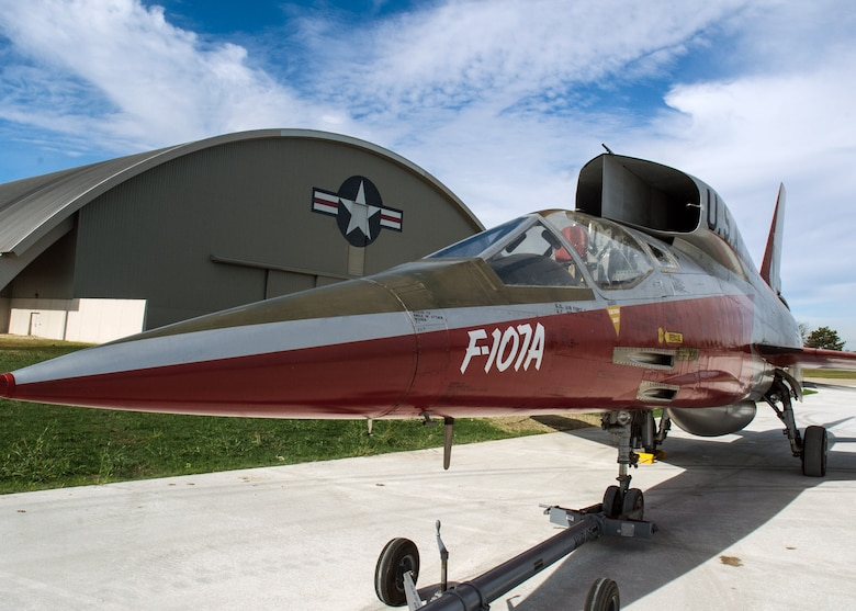 Restoration staff move the North American F-107A into the new fourth building at the National Museum of the U.S. Air Force on Oct. 6, 2015. (U.S. Air Force photo by Ken LaRock)