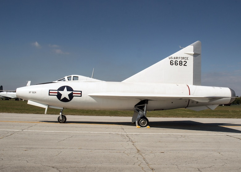 Restoration staff move the Convair XF-92A into the new fourth building at the National Museum of the U.S. Air Force on Oct. 7, 2015. (U.S. Air Force photo by Ken LaRock)