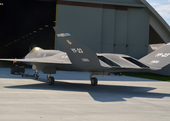 Restoration staff move the Northrop-McDonnell Douglas YF-23A into the new fourth building at the National Museum of the U.S. Air Force on Oct. 7, 2015. (U.S. Air Force photo by Ken LaRock)