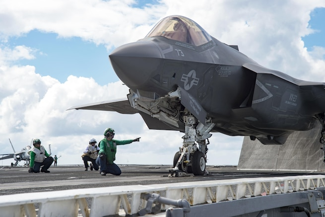 An F-35C Lightning II carrier-variant joint strike fighter prepares for takeoff aboard the aircraft carrier USS Dwight D. Eisenhower in the Atlantic Ocean, Oct. 6, 2015. The aircraft is assigned to Air Test and Evaluation Squadron 23. The F-35C Lightning II Patuxent River Integrated Test Force is conducting follow-on sea trials. U.S. Navy photo by Petty Officer Seaman Anderson W. Branch