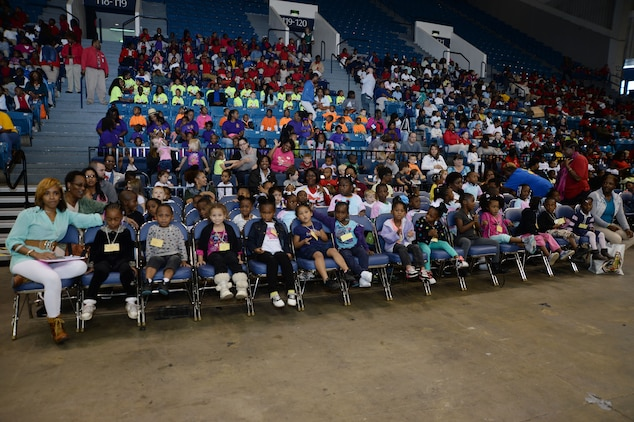 """Hundreds of elementary students, preschoolers, teachers as well as parents from around the state attend the Fire Safety Show at Albany's James H. Gray Civic Center, Oct 7. The crowd learned the importance of fire alarms, smoke detectors, """"Stop, Drop and Roll,"""" and other safety techniques at the city's 21st annual Fire Prevention Week activity."""