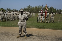 U.S. Marine Corps Sgt. Maj. Marcus Chestnut stands at parade rest with 1st Battalion, 4th Marine Regiment, Marine Rotational Force – Darwin, and soldiers with 1st Brigade, Australian Army, for a farewell ceremony hosted by 1 BDE Oct. 5 at Robertson Barracks, Northern Territory, Australia. During the ceremony, U.S. Marine Corps Maj. Gen. Richard Simcock and Australian Army Brig. Mick Ryan congratulated the Marines on their hard work and the amount of effort they've shown throughout their time participating in training exercises, performing community services and immersing in Australian culture. The rotational deployment of U.S. Marines in Australia affords an unprecedented combined training opportunity with our allies and improves interoperability between our forces. Simcock is the commanding general of 3rd Marine Division, III Marine Expeditionary Force, Ryan is the commander of 1 BDE and Chestnut is the sergeant major of 1st Battalion, 4th Marines, MRF-D.