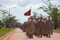 U.S. Marines with 1st Battalion, 4th Marine Regiment, Marine Rotational Force - Darwin march to to the parade ground Oct. 5 at the end of a farewell ceremony hosted by 1st Brigade, Australian Army, at Robertson Barracks, Northern Territory, Australia. U.S. Maj. Gen. Richard Simcock and Australian Brig. Mick Ryan congratulated the Marines on their hard work and the amount of effort they've shown throughout their time participating in training exercises, performing community services and immersing in Australian culture. The rotational deployment of U.S. Marines in Australia affords an unprecedented combined training opportunity with our allies and improves interoperability between our forces. Simcock is the commanding general of 3rd Marine Division, III Marine Expeditionary Force and Ryan is the commander of 1 BDE.