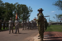 U.S. Marines with 1st Battalion, 4th Marine Regiment, Marine Rotational Force - Darwin march in formation Oct. 5 during a farewell ceremony hosted by 1st Brigade, Australian Army, at Robertson Barracks, Northern Territory, Australia. U.S. Marine Corps Maj. Gen. Richard Simcock and Australian Brig. Mick Ryan congratulated the Marines on their hard work and the amount of effort they've shown throughout their time participating in training exercises, performing community services and immersing in Australian culture. The rotational deployment of U.S. Marines in Australia affords an unprecedented combined training opportunity with our allies and improves interoperability between our forces. Simcock is the commanding general of 3rd Marine Division, III Marine Expeditionary Force and Ryan is the commander of 1 BDE.