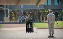 Australian Army Brig. Mick Ryan addresses U.S. Marine Corps Lt. Col. Eric Dougherty and Marines with 1st Battalion, 4th Marine Regiment, Marine Rotational Force – Darwin, and soldiers with 1st Brigade, Australian Army, Oct. 5 during a farewell ceremony hosted by 1 BDE at Robertson Barracks, Northern Territory, Australia. Ryan congratulated the Marines on their hard work and the amount of effort they've shown throughout their time participating in training exercises, performing community services and immersing in Australian culture. The rotational deployment of U.S. Marines in Australia affords an unprecedented combined training opportunity with our allies and improves interoperability between our forces. Ryan is the commander of 1 BDE and Dougherty is the commanding officer of 1st Battalion, 4th Marines, MRF-D.