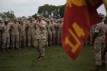 U.S. Marine Corps Col. David Odom and Sgt. Maj. Mario Fields address Marines with 1st Battalion, 4th Marine Regiment, Marine Rotational Force – Darwin, after an awards ceremony Oct. 6 at Robertson Barracks, Palmerston, Australia. Odom and Fields congratulated the Marines on their hard work and the amount of effort they've shown throughout their time working with 1st Brigade, Royal Australian Army during training exercises, performing community services or immersing in Australian culture. The rotational deployment of U.S. Marines in Australia affords an unprecedented combined training opportunity with our allies and improves interoperability between our forces. Odom and Fields are the commanding officer and sergeant major of 4th Marine Regiment, 3rd Marine Division, respectively.