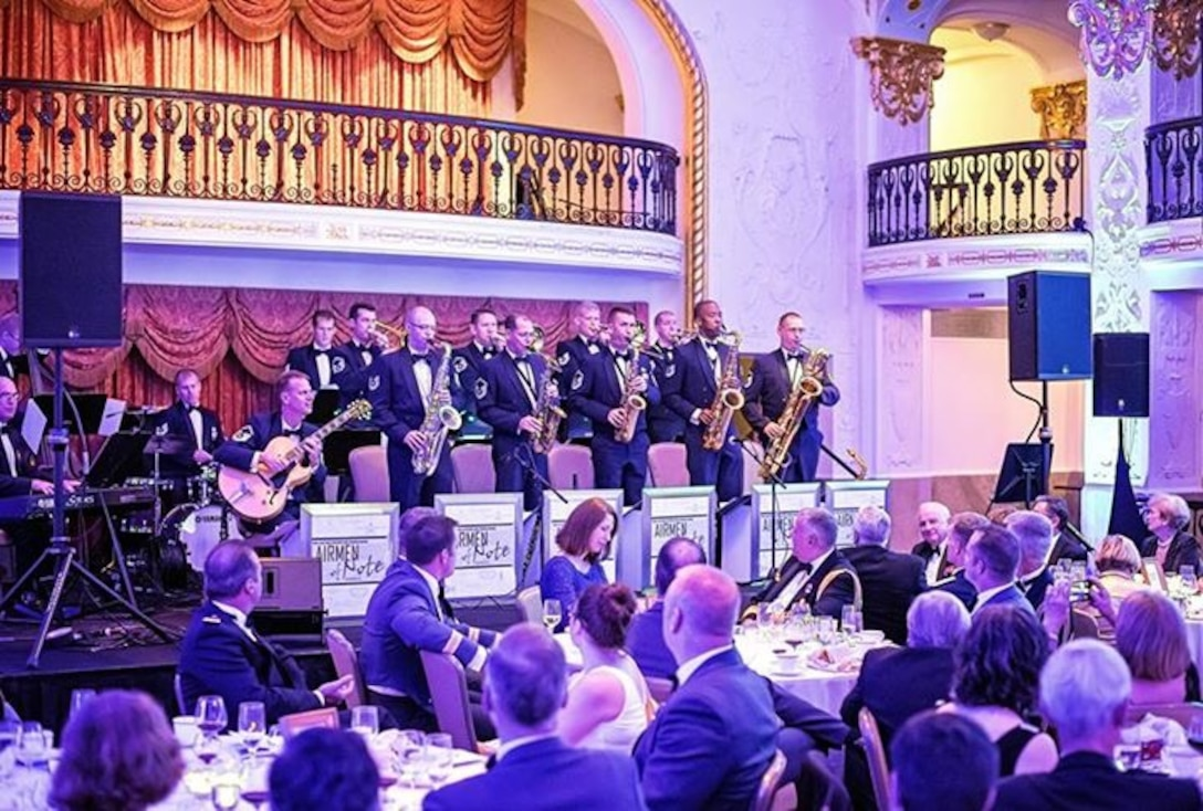 The Airmen of Note performed for the annual Battle of Britain banquet, hosted by top leaders of the Royal Air Force.  This year's banquet honored the 75th Anniversary of the battle and featured a special trumpet solo by Senior Master Sgt Brian MacDonald. (U.S. Air Force photo by Master Sgt Adam Dempsey/released)