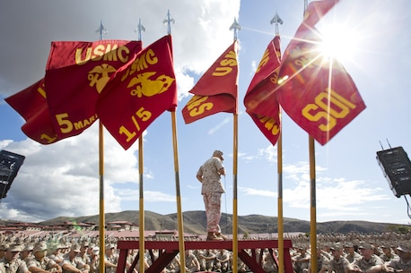 Commandant of the Marine Corps, Gen. Robert B. Neller, speaks to Marines, Sailors and civilians at the San Mateo Parade Deck, Camp Pendleton, Calif., Oct. 5, 2015. Neller outlined the Corps current priorities, expectations, listened and answered Marines' questions. (U.S. Marine Corps photo by Sgt. Gabriela Garcia/Released)
