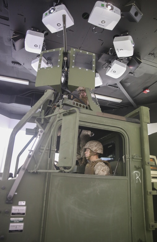 Marines with Transportation Support Co., Combat Logistics Battalion 2, conduct simulated High Mobility Multipurpose Wheeled Vehicle convoy training at Camp Lejeune, N.C., Oct. 7, 2015. Approximately 25 Marines with the unit are undergoing Convoy Leader's Course in preparation for an Integrated Training Exercise in Twentynine Palms, Calif., later this month. (U.S. Marine Corps photo by Cpl. Lucas Hopkins/Released)