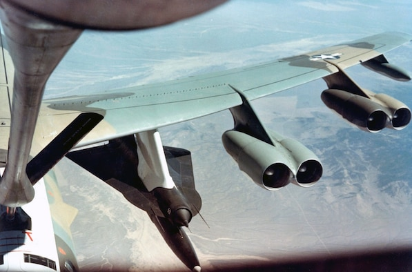 The operational launch system used modified B-52H carrier aircraft. The D-21B had a solid rocket booster to provide the initial acceleration required to start the ramjet engine. The first launch from a B-52 took place in 1967. (U.S. Air Force photo)