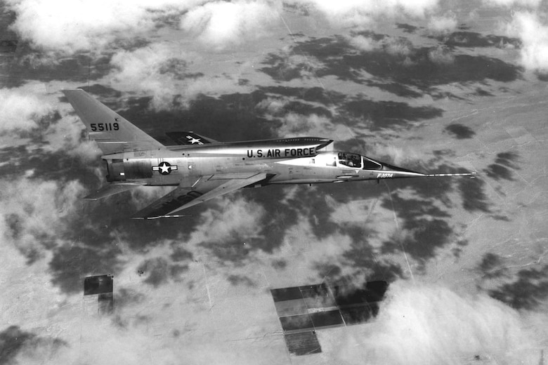 The museum's North American F-107A in flight. (U.S. Air Force photo)