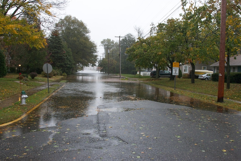 First sign of surge during Hurricane Sandy in Brielle, NJ.