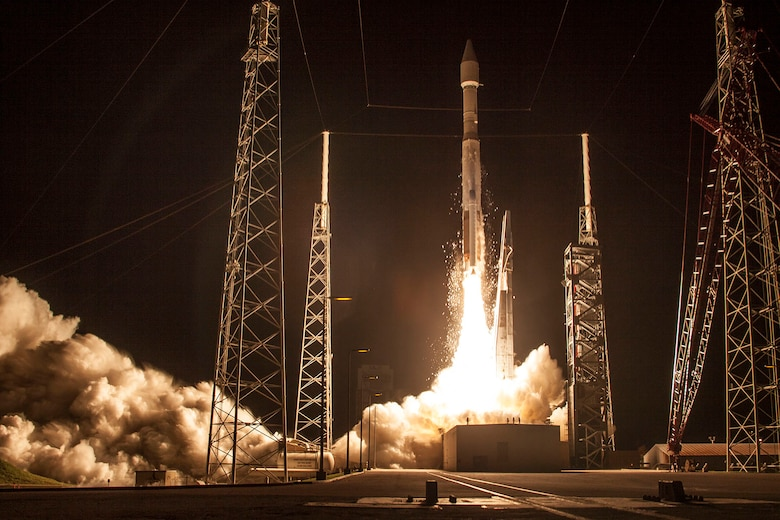 The 45th Space Wing supported the United Launch Alliance's 100th launch, an Atlas V 421 flying the Morelos-3 communications satellite for Mexico's Secretariat of Communications and Transportation, Oct. 2, 2015, from Launch Complex 41 on Cape Canaveral Air Force Station, Fla. (courtesy photo/United Launch Alliance)