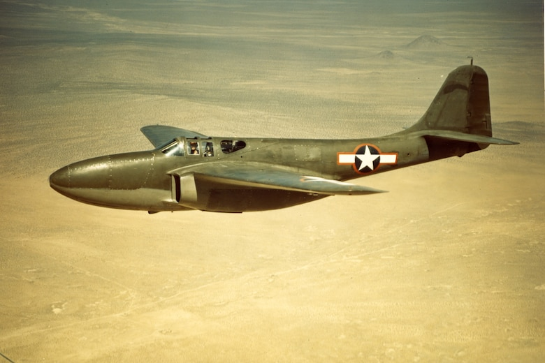 This is one of three XP-59A prototypes. The first prototype XP-59A flew in the fall of 1942 at Muroc Dry Lake (now Edwards Air Force Base), Calif. (U.S. Air Force photo)
