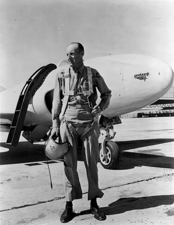 Col. Albert Boyd in front of the P-80R. On June 19, 1947, at Muroc Army Air Field (now Edwards Air Force Base), California, Boyd flew this P-80R to a new world's speed record of 623.753 mph, returning the record to the United States after nearly 24 years. (U.S. Air Force photo)