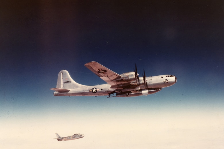 The Bell X-1B underneath its B-29 carrier aircraft. (U.S. Air Force photo)