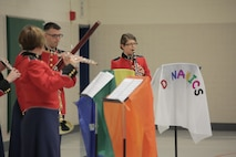 """On Thursday, Oct. 8, a woodwind quintet from """"The President's Own"""" U.S. Marine Band performed a Music in the Schools (MITS) program for fourth, fifth, and sixth graders at Waynewood Elementary School in Alexandria, Va. The band director, Jane Morgan, said at the conclusion of the presentation a sixth grader asked her if it was too late to sign up for band because he really liked what the quintet could do. A MITS success story! (U.S. Marine Corps photo by Master Sgt. Kristin duBois/released)"""
