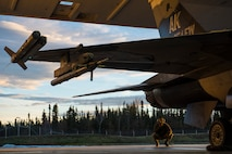 "U.S. Air Force Senior Airman Terrence Lawrence, a 354th Aircraft Maintenance Squadron aircraft electrical and environmental systems journeyman, prepares an F-16 Fighting Falcon assigned to the 18th Aggressor Squadron at Eielson Air Force Base, Alaska, for a mission Oct. 8, 2015. Lawrence was the first Airman to complete a program called ""cut training,"" which cross utilizes Airmen to fill undermanned crew chief positions. (U.S. Air Force photo by Staff Sgt. Joshua Turner/Released)"