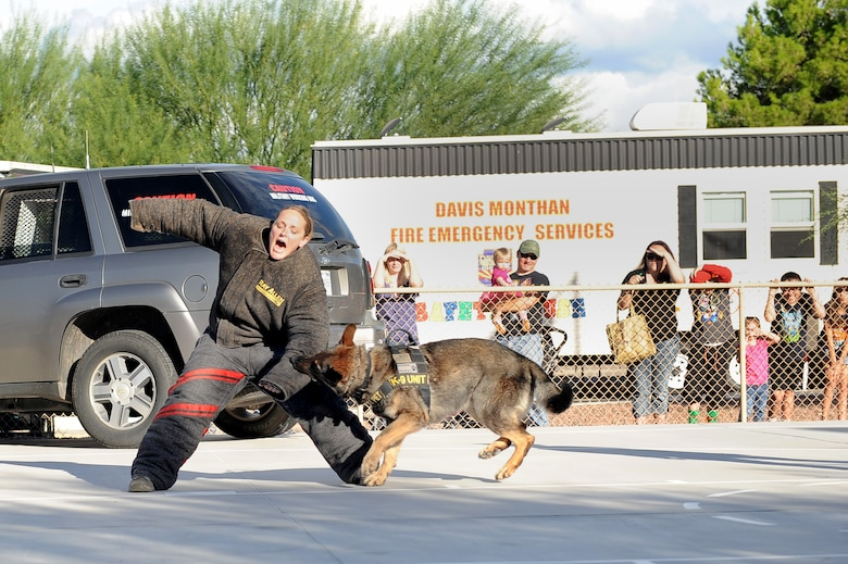 U.S. Air Force Staff Sgt. Lori Lemay, 355th Security Forces Squadron military working dog handler, and Emor, 355th SFS MWD demonstrate how a MWD can attack an aggressor, during a National Night Out event at Davis-Monthan Air Force Base, Ariz., Oct. 7, 2015. The National Night Out event was held by the National Association of Town Watch and co- sponsored locally by Soaring Heights Communities. The night out is designed to heighten crime and drug prevention awareness, generate support for, and participation in, local anticrime efforts, and strengthen neighborhood spirit and security organization. (U.S. Air Force photo by Senior Airman Cheyenne A. Powers/Released)