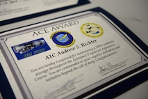 Airman 1st Class Andrew Richter, 361st TRS aerospace propulsion graduate, is an ACE award recipient from the aerospace propulsion course at Sheppard Air Force Base, Texas, Oct. 7, 2015.  Richter earned prefect scores on all seven blocks of training throughout the three-month long course. (U.S. Air Force photo/Tech. Sgt. Mike Meares)