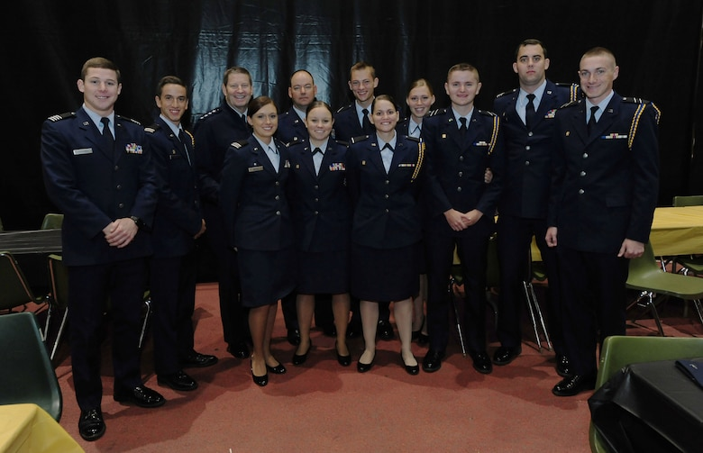 Air Force ROTC Detachment 440 cadets from the University of Missouri stand with Gen. Robin Rand, Air Force Global Strike Command commander, Oct. 3, 2015, in Columbia, Missouri. While attending Mizzou's military appreciation game, Rand met with the ROTC cadets and answered their questions about the U.S. Air Force. (U.S. Air Force photo by Airman 1st Class Jazmin Smith/Released)