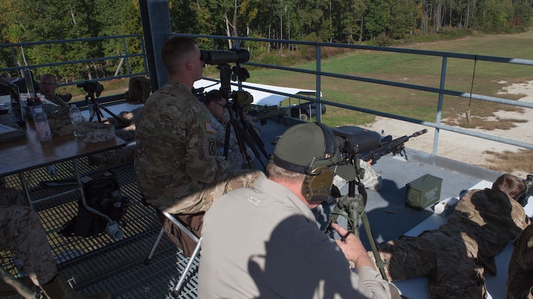 A group of snipers have data on their shots recorded as they fire at robotic moving targets at Fort A.P. Hill, Va., Oct. 10, 2015. These strings of fires are part of the last data to be compiled for the Joint Sniper Performance Improvement Methodology Quick Reaction Test. This yearlong test aims to improve the skills of snipers across all United States' government agencies.