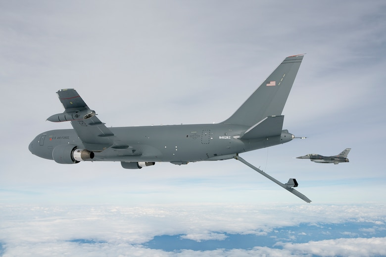 The KC-46A Pegasus Tanker deploys the centerline boom for the first time Oct. 9.  The boom is the fastest way to refuel aircraft at 1,200 gallons per minute.  (Boeing photo by John D. Parker)