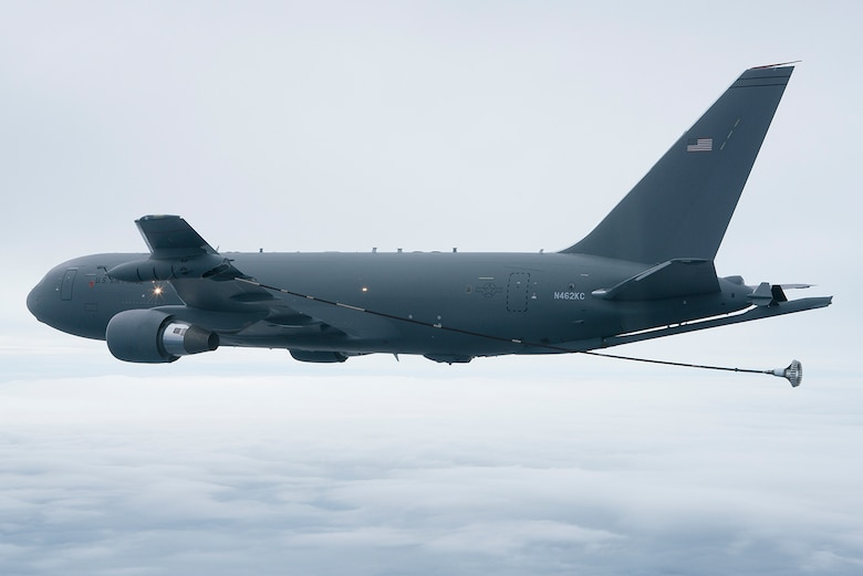 The KC-46A Pegasus tanker deploys the drogue from the Wing Aerial Refueling Pods located on the wing tips Oct. 8.  The drogue systems are used to refuel helicopters along with Navy and Marine Corps aircraft.  (Boeing photo by John D. Parker)
