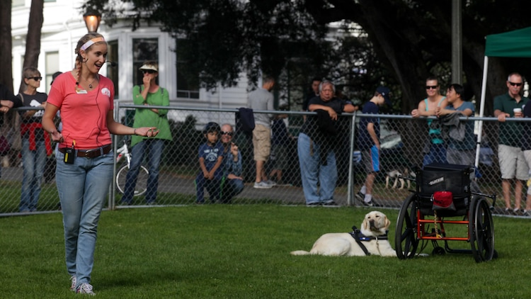 Oz Robinson, an apprentice instructor with canine companions, explains the different capabilities of their trained service dogs during the Bark at the Park event Oct. 10, as part of San Francisco Fleet Week 2015. SFFW 15' is a week-long event that blends a unique training and education program, bringing together key civilian emergency responders and Naval crisis-response forces to exchange best practices on humanitarian assistance disaster relief with particular emphasis on defense support to civil authorities.