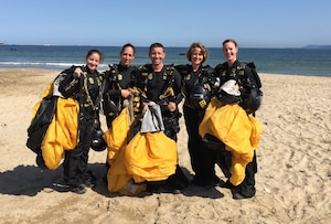 The U.S. Armed Forces Parachuting Team featuring the Army Golden Knights Parachuting Team get ready for their formation dive. The U.S. women won gold while setting the CISM World Record in Formation Sky Diving. From left to right: SFC Jennifer Davis; SFC Dannielle Woosely; SFC Scott Janis (Videographer); SFC Laura Davis; SFC Angela Nichols;