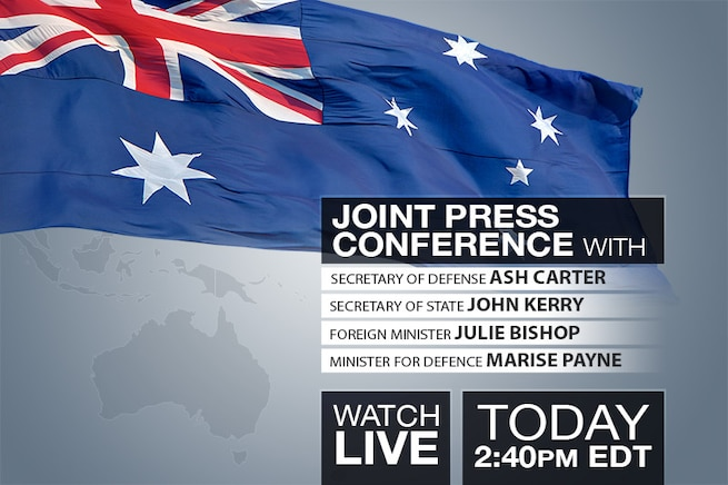 U.S. Defense Secretary Ash Carter is scheduled to participate in a news conference in Boston with Secretary of State John Kerry, Australian Defense Minister Marise Payne and Australian Foreign Minister Julie Bishop at 2:40 p.m. EDT. Check back to watch the event live.