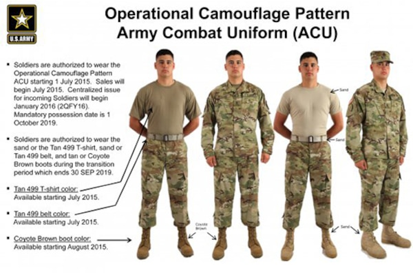 DLA Troop Support Clothing and Textiles has been working with Army officials and other stakeholders for more than a year planning the rollout of the new operational camouflage pattern Army combat uniform. Soldiers are authorized to wear the uniform, which became available at select military clothing sales stores July 1.