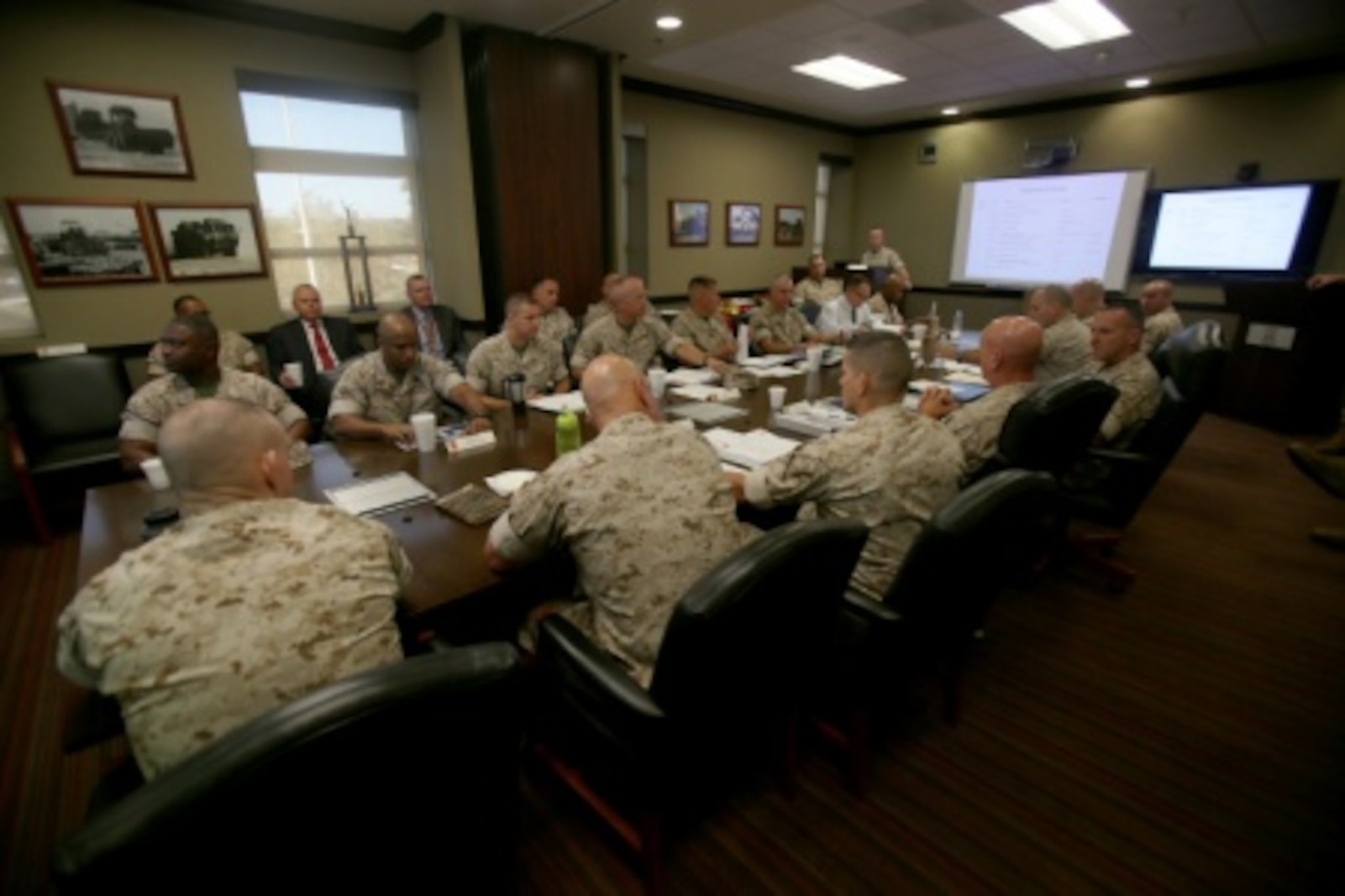Commanding Generals from each of the four Marine Logistics Groups came together at Camp Pendleton, Calif., for a Quad MLG Conference in an effort to plan for future organizational and logistics changes that will affect their units, Oct. 7, 2015. The four general officers discussed various topics and proposed plans that will help them stay on the same page while simultaneously operating within their specific operational capabilities and capacities.