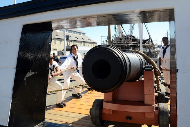 Sailors assigned to USS Constitution perform a War of 1812-era long gun drill in Charlestown Navy Yard, Charlestown, Mass., as part of Constitution's weekend festivities celebrating the U.S, Navy's 240th birthday, Oct. 10, 2015. U.S. Navy photo by Navy Petty Officer 1st Class Peter D. Melkus
